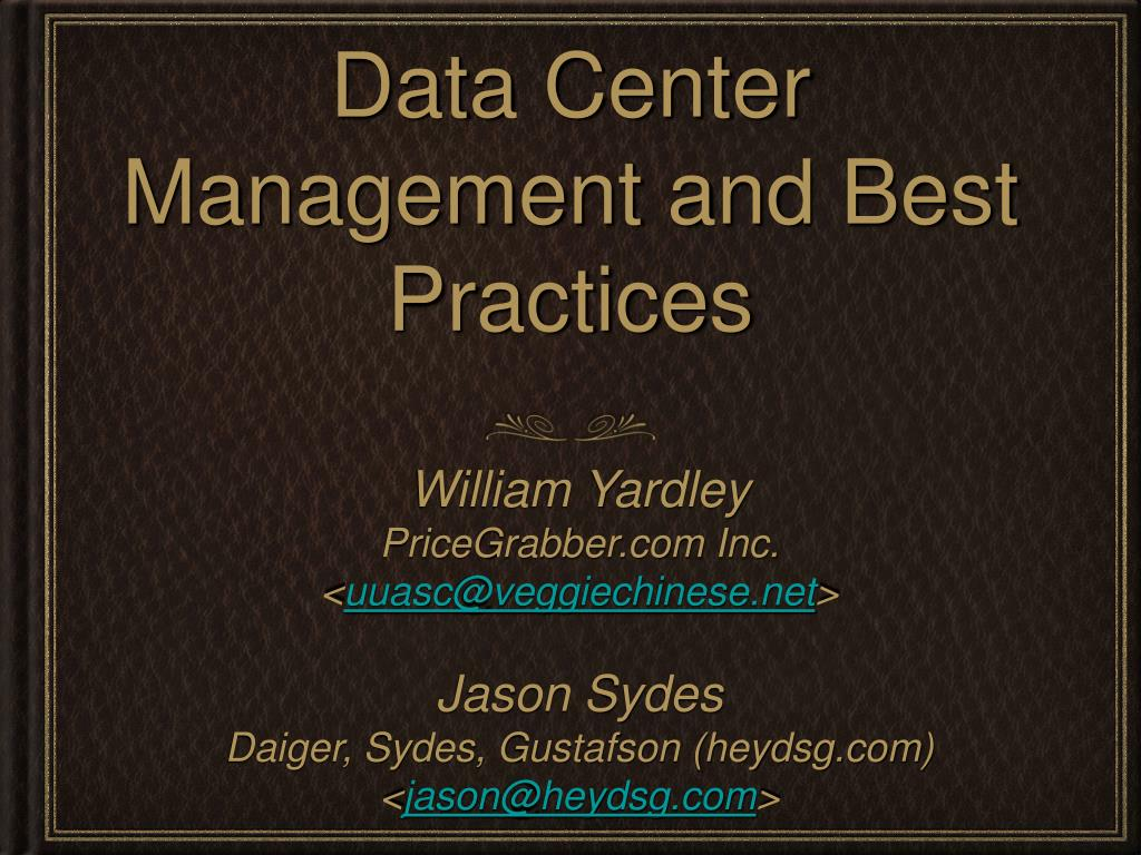 data center management and best practices l.