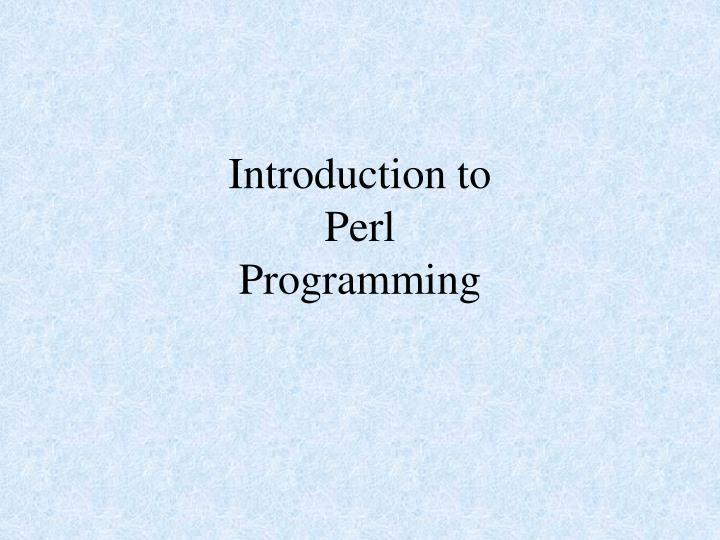 introduction to perl programming n.
