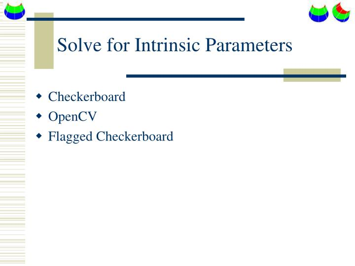 Solve for Intrinsic Parameters