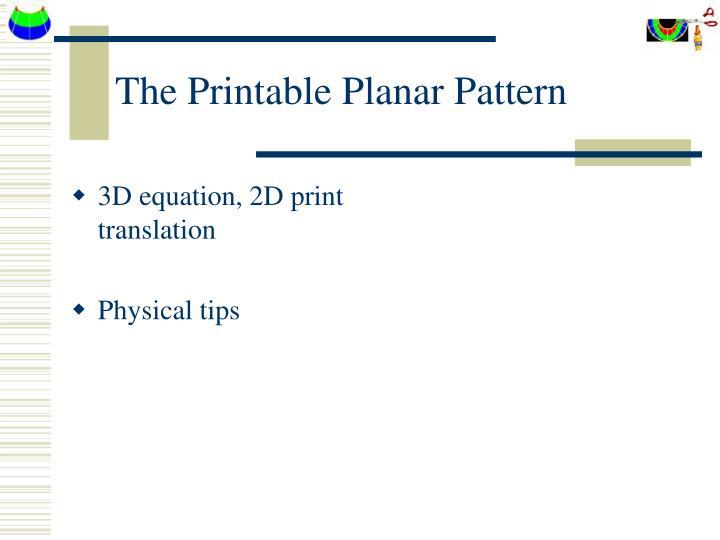 The Printable Planar Pattern