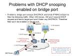 problems with dhcp snooping enabled on bridge port