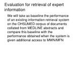 evaluation for retrieval of expert information