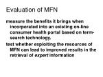 evaluation of mfn
