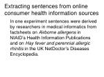 extracting sentences from online consumer health information sources