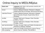 online inquiry to medlineplus