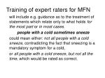 training of expert raters for mfn