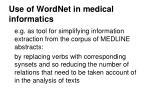 use of wordnet in medical informatics