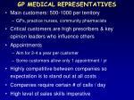 gp medical representatives