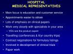 hospital medical representatives