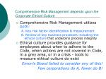 comprehensive risk management depends upon the corporate ethical culture