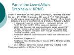 part of the livent affair drabinsky v kpmg