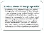 critical views of language shift