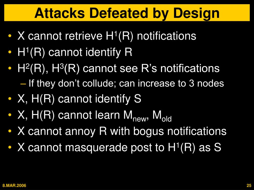 Attacks Defeated by Design