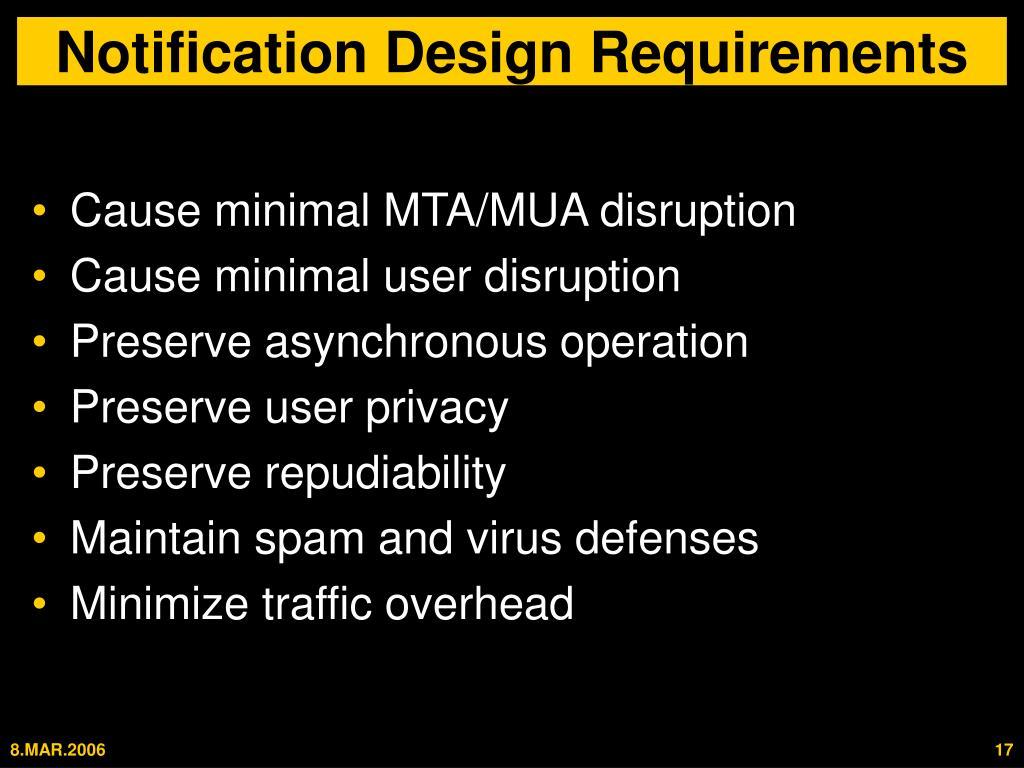 Notification Design Requirements