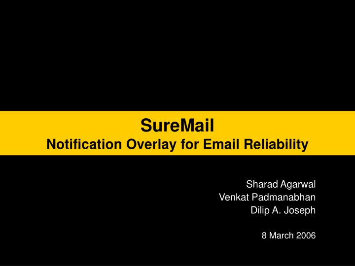 Suremail notification overlay for email reliability