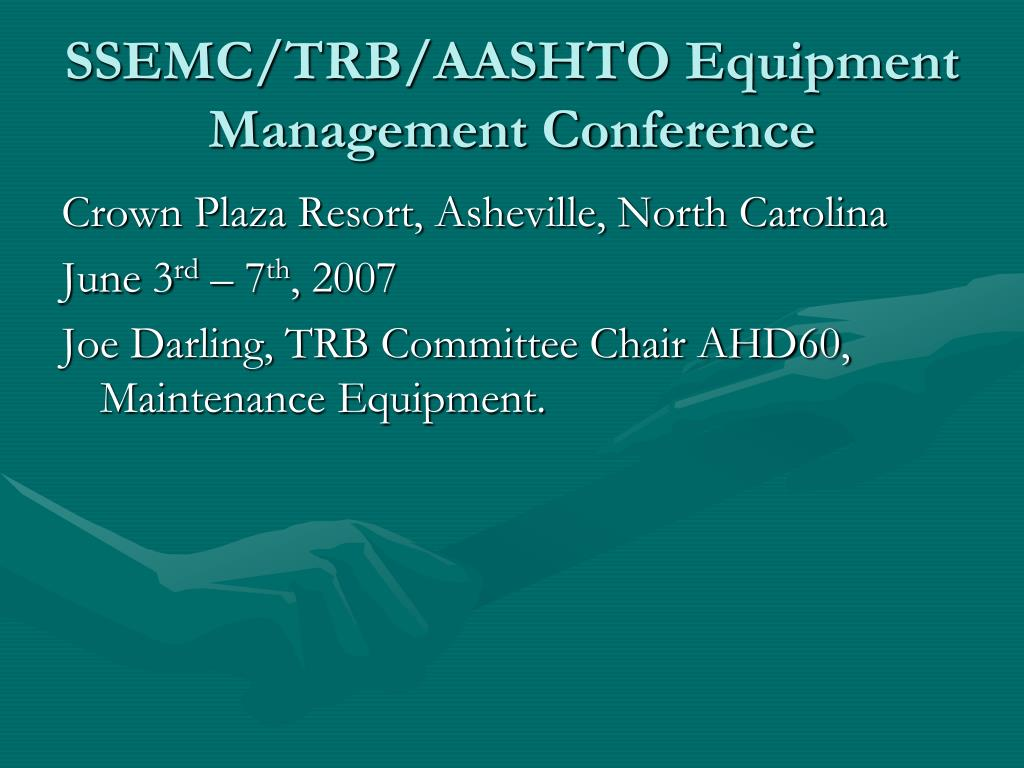 ssemc trb aashto equipment management conference l.