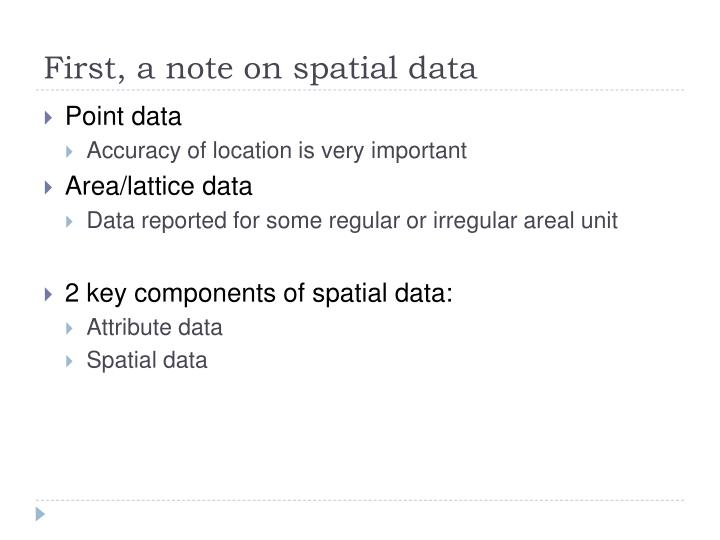 First a note on spatial data