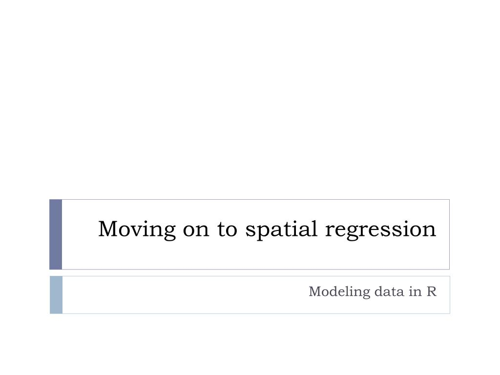 Moving on to spatial regression