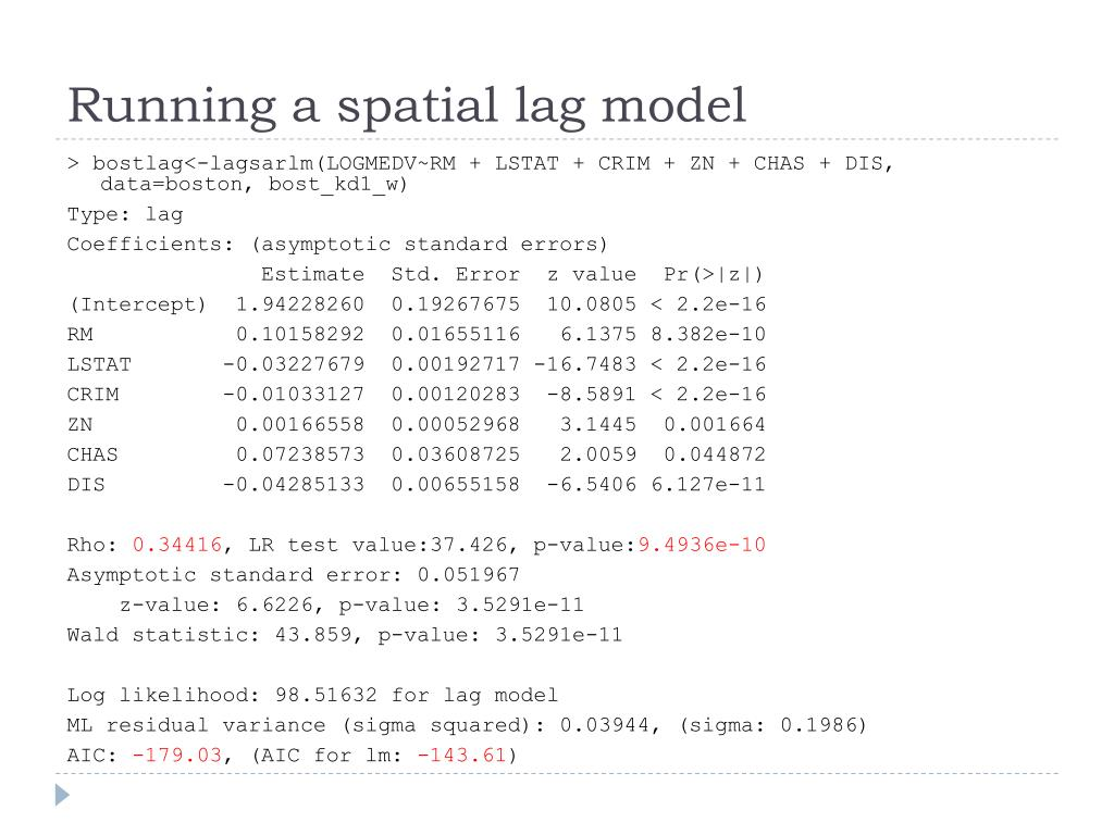 Running a spatial lag model