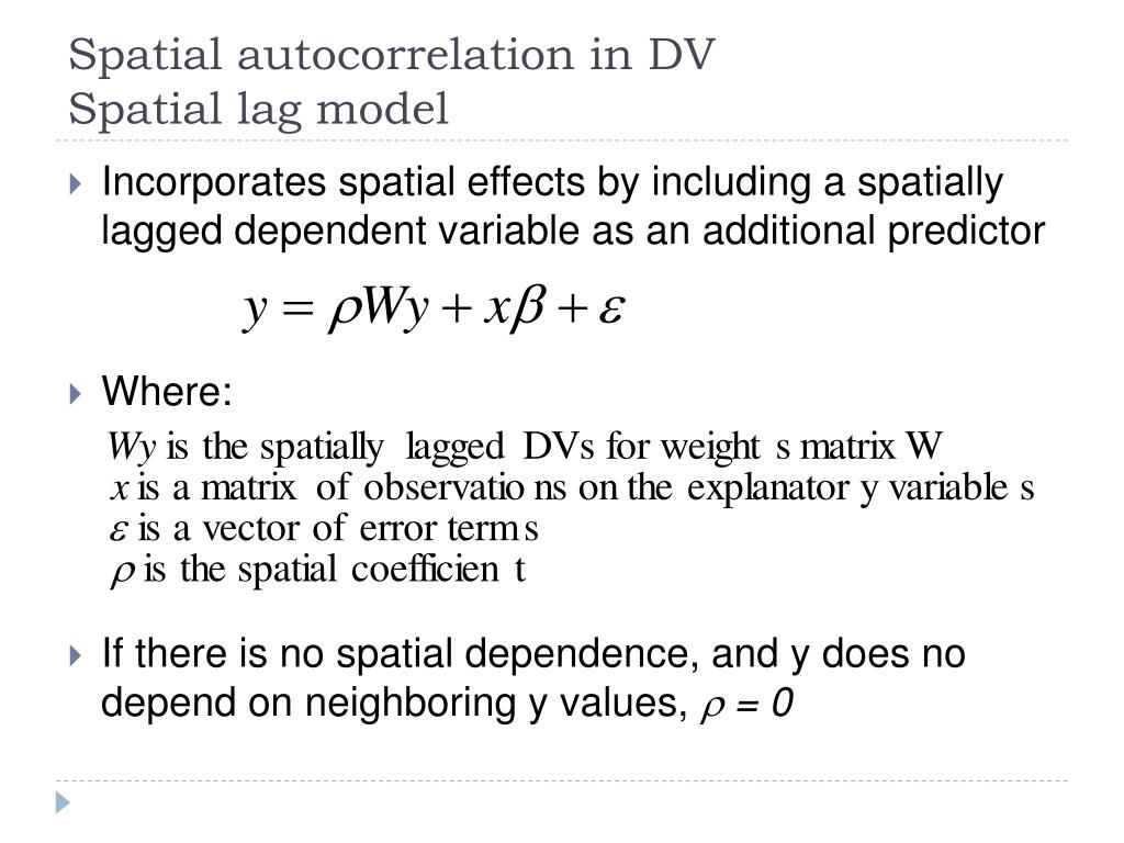 Spatial autocorrelation in DV