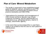 plan of care mineral metabolism