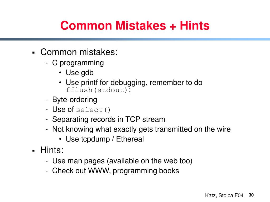Common Mistakes + Hints