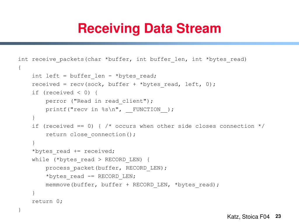 Receiving Data Stream