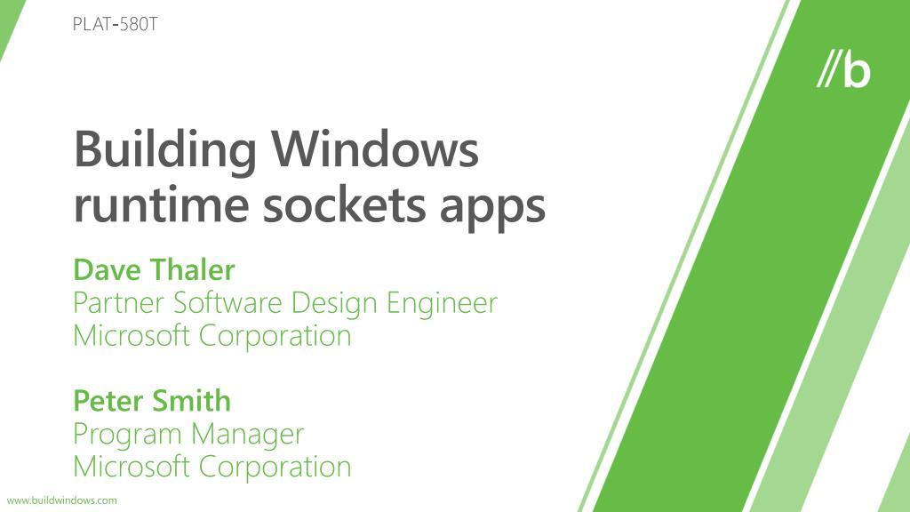 building windows runtime sockets apps l.