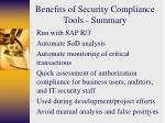 benefits of security compliance tools summary