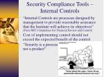 security compliance tools internal controls