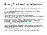history continued key milestones