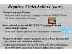 required cadet actions cont