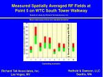 measured spatially averaged rf fields at point 5 on wtc south tower walkway