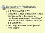 noteworthy restrictions