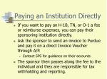 paying an institution directly