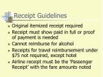 receipt guidelines