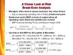 a closer look at risk break even analysis