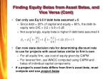 finding equity betas from asset betas and vice versa cont
