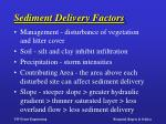 sediment delivery factors