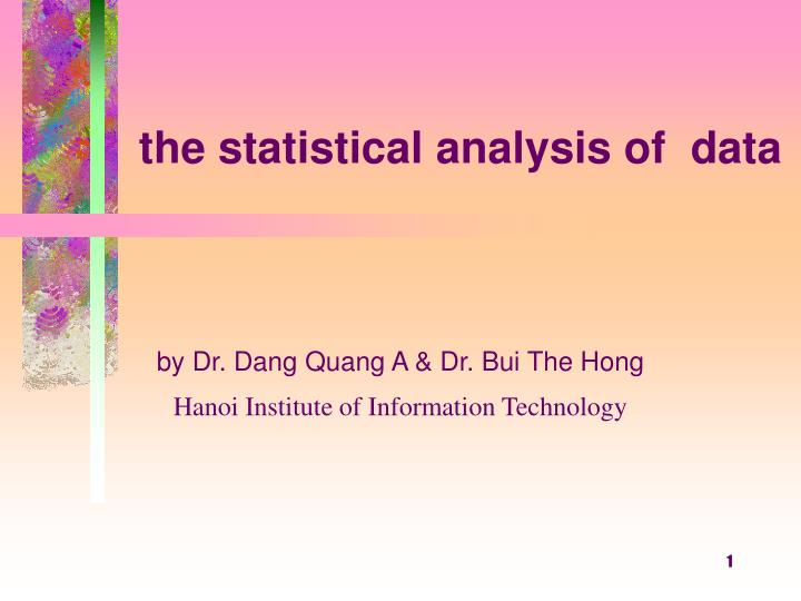 the statistical analysis of data n.