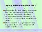 mental health act mha 1983