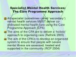 specialist mental health services the care programme approach