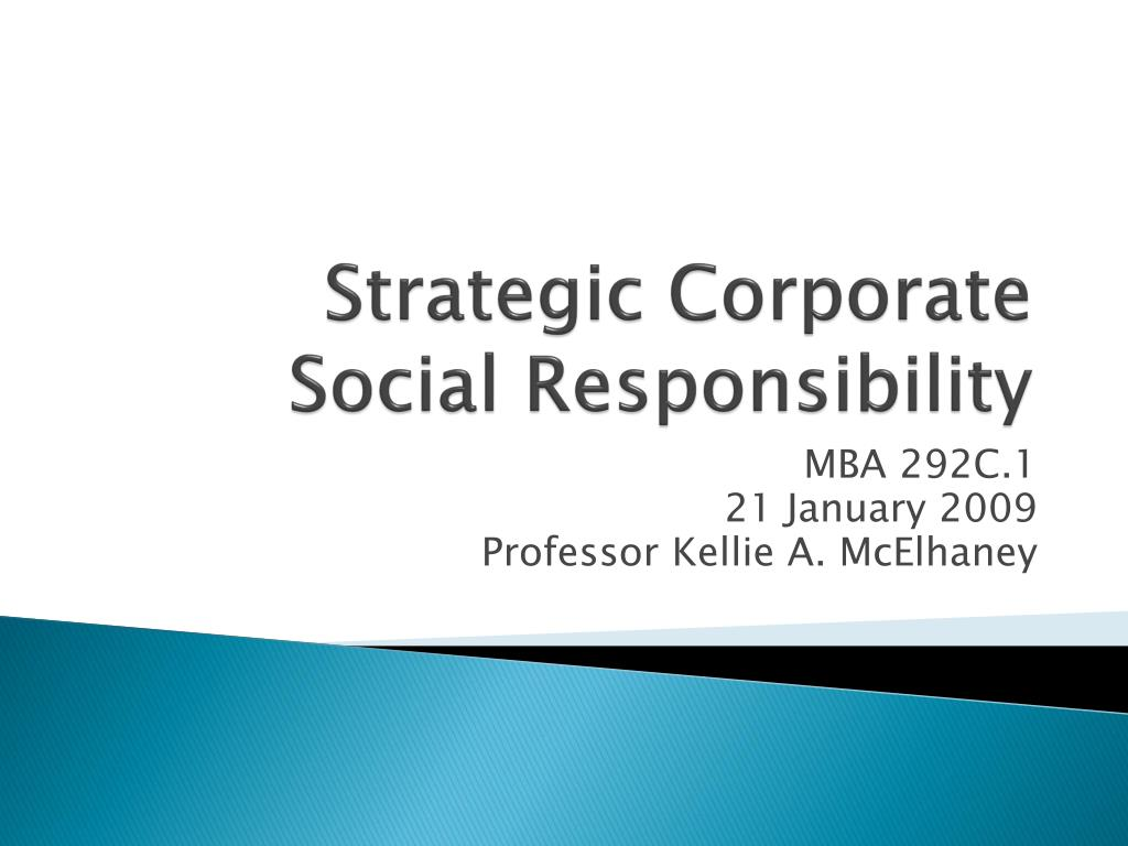 strategic corporate social responsibility l.