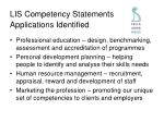 lis competency statements applications identified
