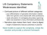 lis competency statements weaknesses identified