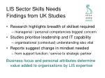 lis sector skills needs findings from uk studies