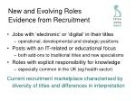 new and evolving roles evidence from recruitment