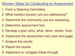 review steps for conducting an assessment