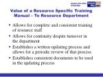 value of a resource specific training manual to resource department