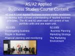 as a2 applied business studies course content